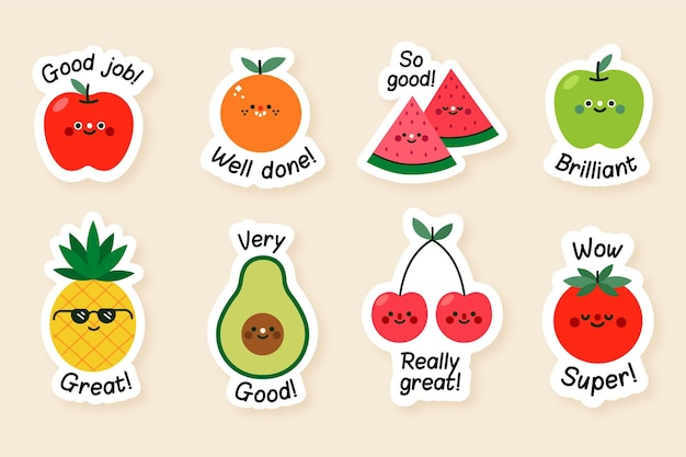 Flat good job stickers collection