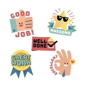 Flat good job stickers pack