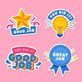 Flat good job stickers set