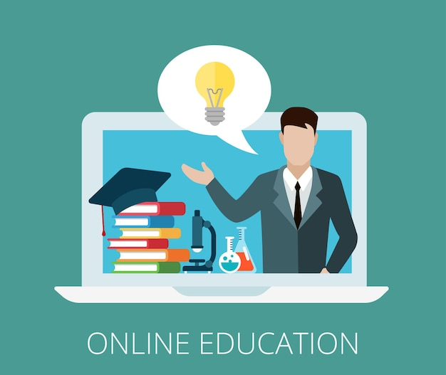 チャットバブルイラストのアイデアとノートパソコン画面上のフラット優雅な先生。オンライン、リモート、および遠隔教育コースの概念。