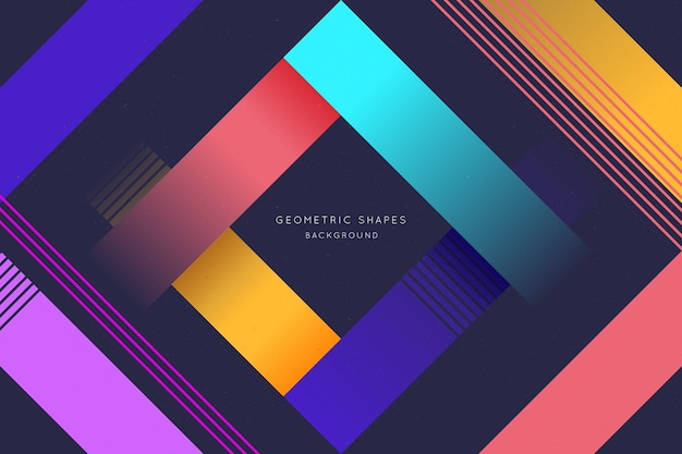 Flat gradient geometric shapes background