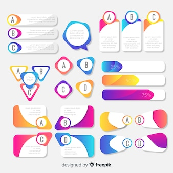 Flat gradient infographic element collection