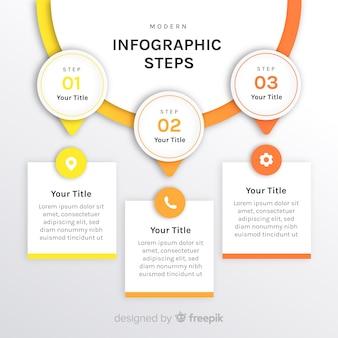 Шаблон шагов с плоским градиентом инфографики