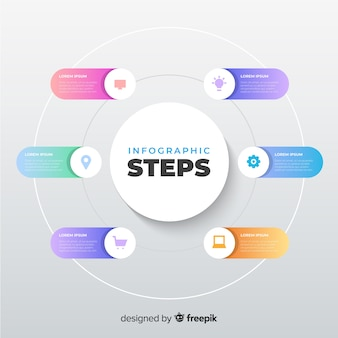 Flat gradient infographic steps