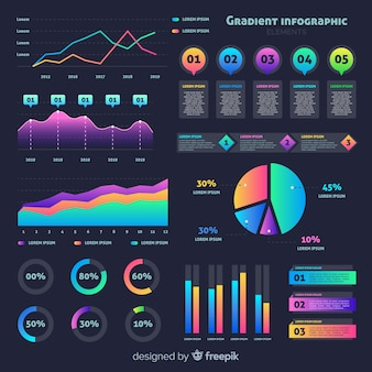 Flat gradient infographic with stats