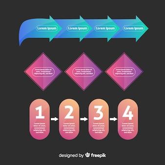 手順とフラットグラデーションインフォグラフィック