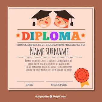 Flat graduation certificate for kids