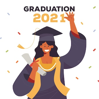 Flat graduation illustration