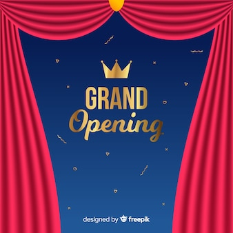 Flat grand opening background with curtains