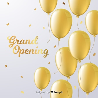 Flat grand opening background with golden balloons
