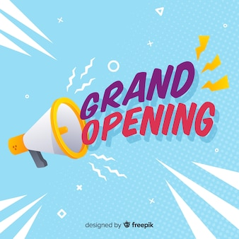 Flat grand opening background with megaphone