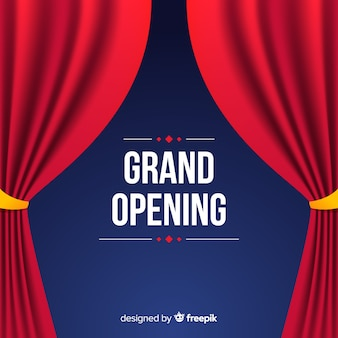 Flat grand opening poster with curtains