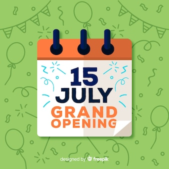 Flat grand opening with calendar