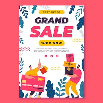 Flat grand sale poster template