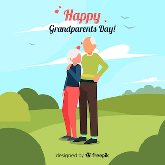 Flat grandparents day background