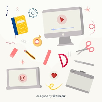 Flat graphic design tools collection