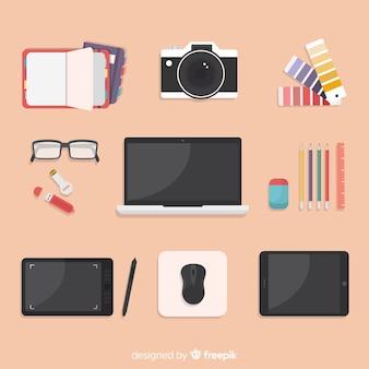 Плоская коллекция инструментов графического дизайна