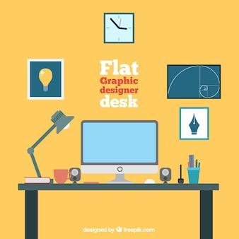 Flat graphic designer desk collection