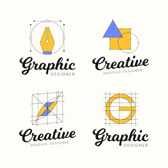 Flat graphic designer logo collection