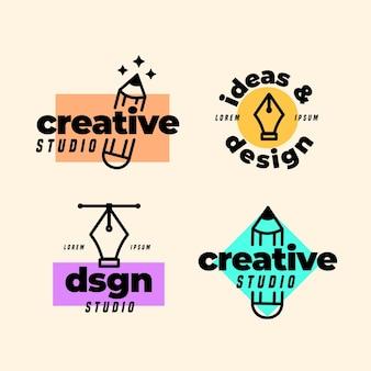 Плоская коллекция логотипов графического дизайнера