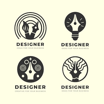 Flat graphic designer logo pack