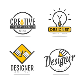 Flat graphic designer logo set