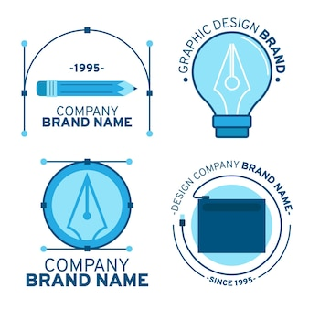 Flat graphic designer logo template set