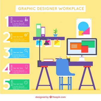 Flat graphic designer workplace infographic