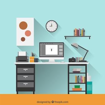 Flat graphic designer workspace