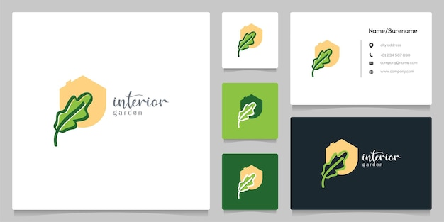 명함과 평면 그래픽 잎 신선한 장식 인테리어 로고 디자인