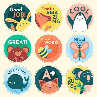 Flat great job sticker collection