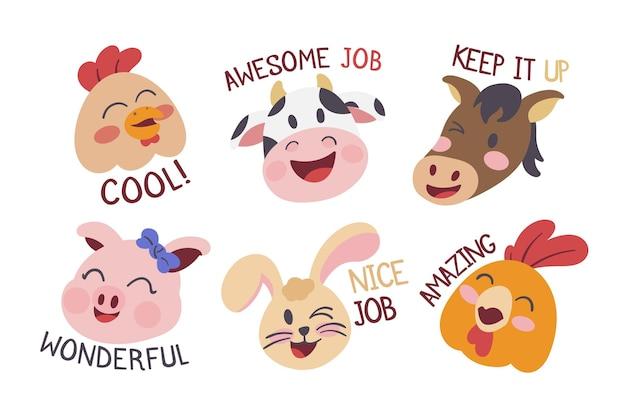 Flat great job stickers pack