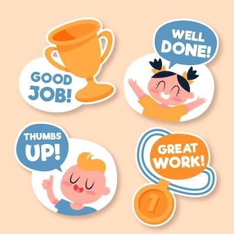 Flat great job stickers set