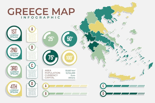フラットギリシャの地図のインフォグラフィック