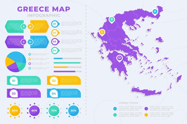 Flat greece map infographic