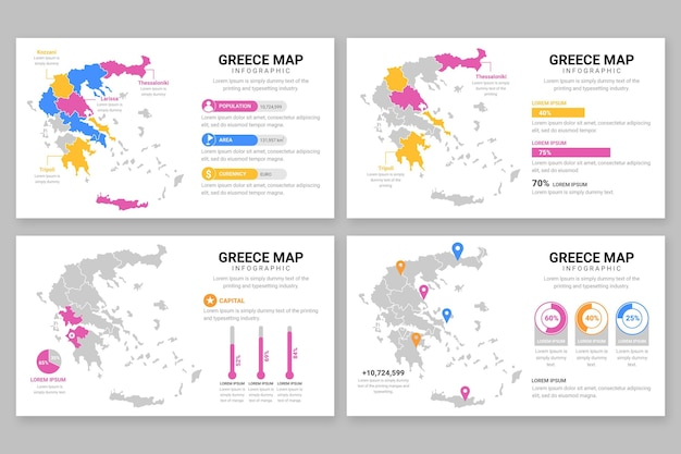 Плоская греция карта инфографики