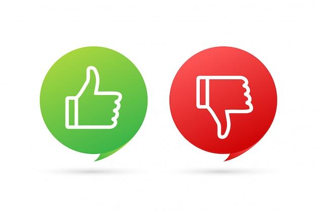 Плоская зеленая кнопка на красном фоне. хорошо знаком. поднимите, отличный дизайн для любых целей. концепция социальных медиа. иллюстрация запаса.
