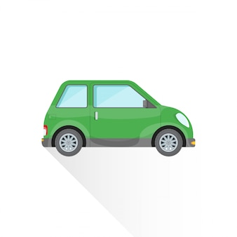 Flat green compact city car body style  icon