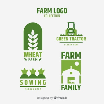 Flat green farm logo collection