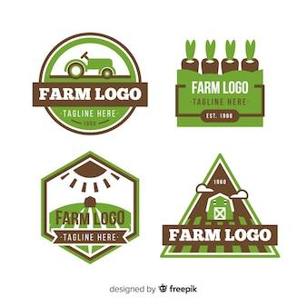 Flat green farm logo collection
