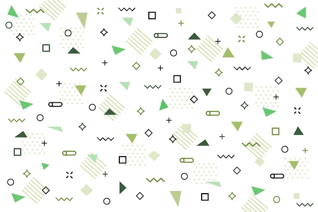 Flat green geometric shapes background