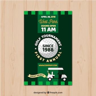 Flat green golf tournament poster