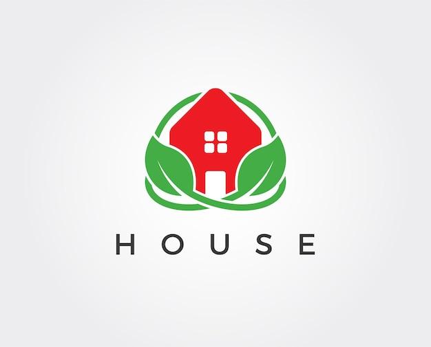 緑の葉が中にある平らな緑の家