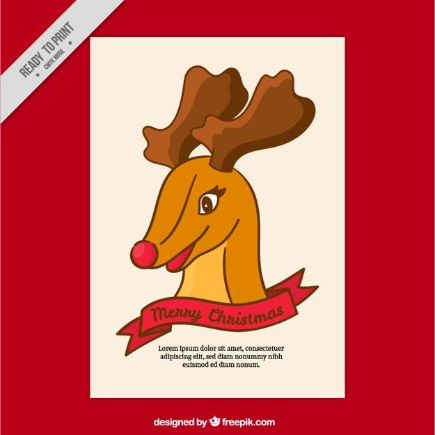 クリスマスのためのトナカイフラットグリーティングカード 無料ベクター