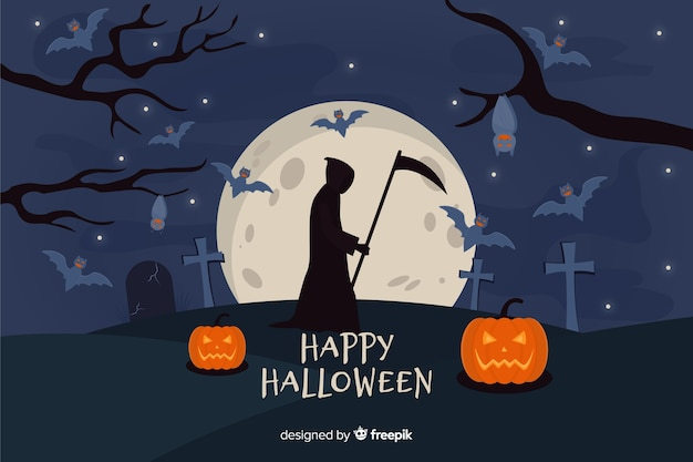 Flat grim reaper halloween background