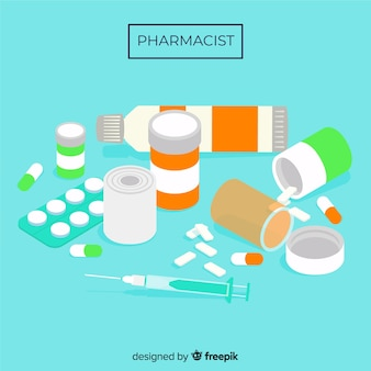 Flat group of medicines background