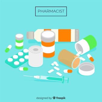 Gruppo piatto di sfondo di farmaci