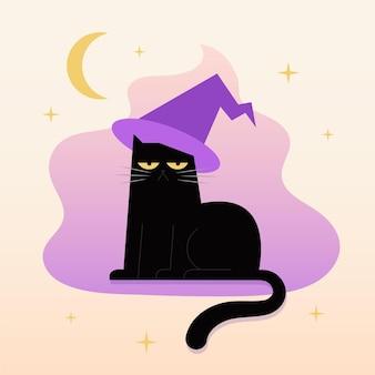 Flat grumpy halloween cat