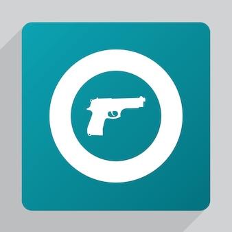 Flat gun icon, white on green background