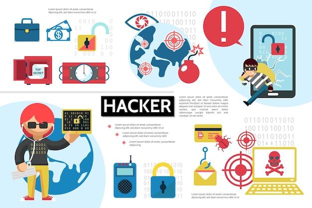 Плоская хакерская инфографическая концепция с хакерами, безопасная динамитная бомба, ошибка, ноутбук, денежный замок, дистанционное управление, иллюстрация мобильных целей